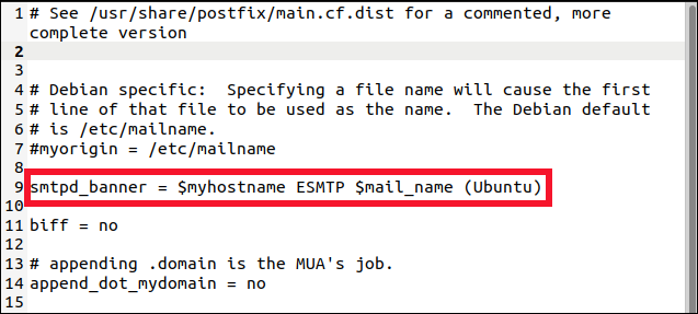 postfix main.cf file in a gedit editor with the smtp_banner line highlighted.