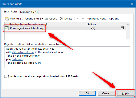 """The """"Rules and Alerts"""" window."""