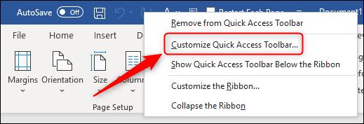 """The """"Customize Quick Access Toolbar"""" menu option."""