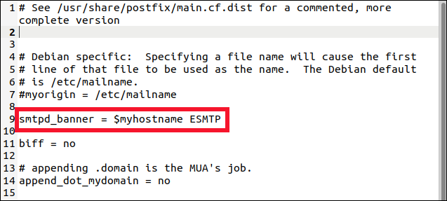 postfix main.cf file in a gedit editor with the edited smtp_banner line highlighted.