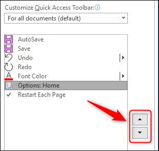 The arrow buttons for changing the position of toolbar commands.