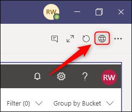 El enlace a la aplicación Planner, que se muestra como un globo en la barra de herramientas.