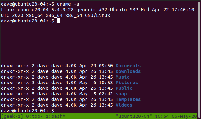 Two different commands in two panes in a tmux session in a terminal widow.