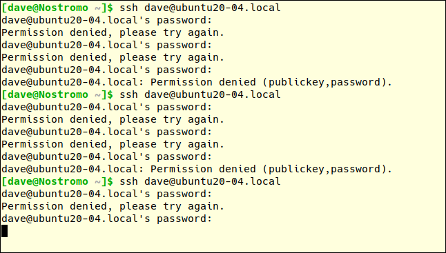 ssh dave@ubtuntu20-04.local in a terminal window with many failed password attempts.
