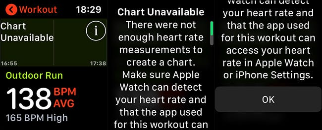 Apple Watch heart rate error messages