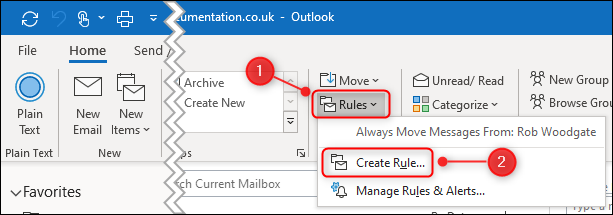 "The ""Create Rule"" option in the ribbon menu."