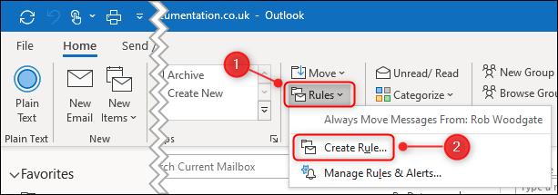 "The ""Create Rule"" option in the ribbon menu."