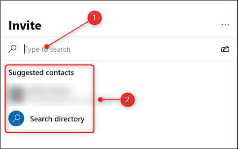 "Type the person's name or select it from the ""Suggested Contacts"" list."