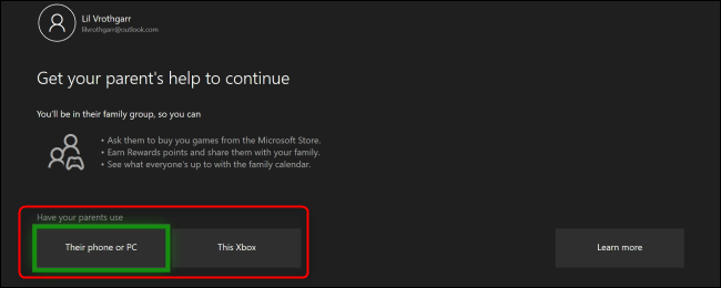 """The Xbox One """"Get Your Parent's Help to Continue"""" menu."""