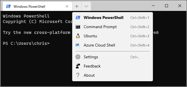 New Tab options in the Windows Terminal.