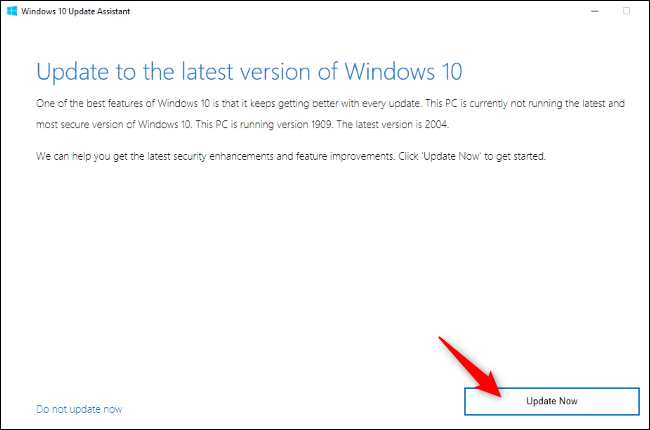Windows 10's Update Assistant offering an upgrade