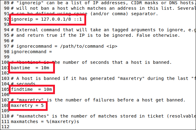 /etc/fail2ban/jail.local opened in a gedit window and scrolled to line 89.