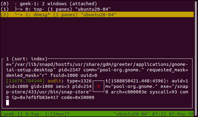 tmux window list displayed in a terminal window.
