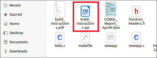 OpenDocument file correctly identified within the Files file browser, even though its extension is XYZ.