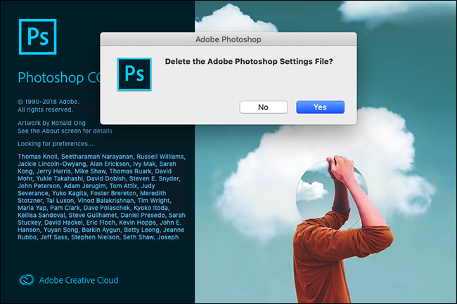 "The ""Delete the Adobe Photoshop Settings File?"" prompt in Photoshop."