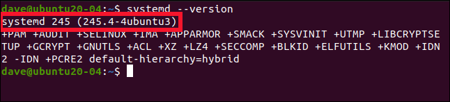 systemd --version in a terminal window.