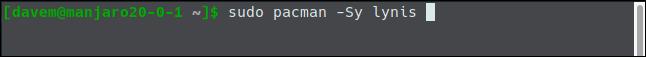 sudo pacman -Sy lynis en una ventana de terminal.