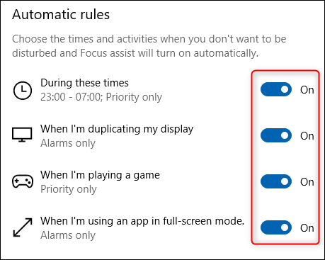 """The """"Automatic rules"""" section of Focus Assist."""