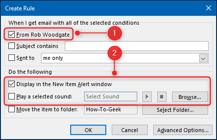 """The """"Create Rule"""" window with the alert options highlighted."""