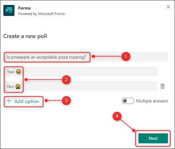 "The ""Create a new poll"" window."