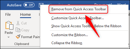 """The """"Remove from Quick Access Toolbar"""" menu option."""