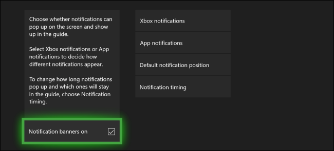 Menú de notificaciones de Xbox One
