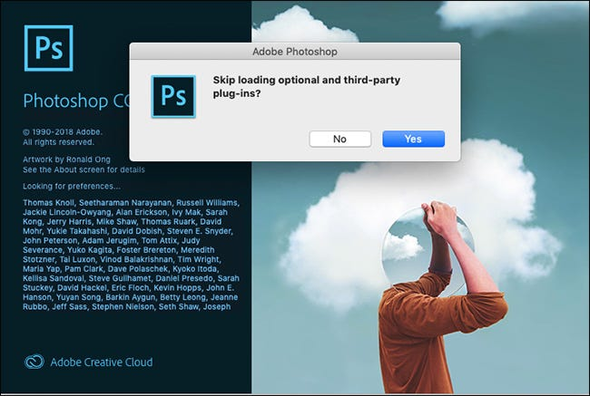 "The ""Skip Loading Optional and Third-Party Plugins?"" prompt in Photoshop."