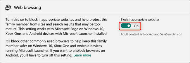 Microsoft Family Group Web Browsing Block Toggle