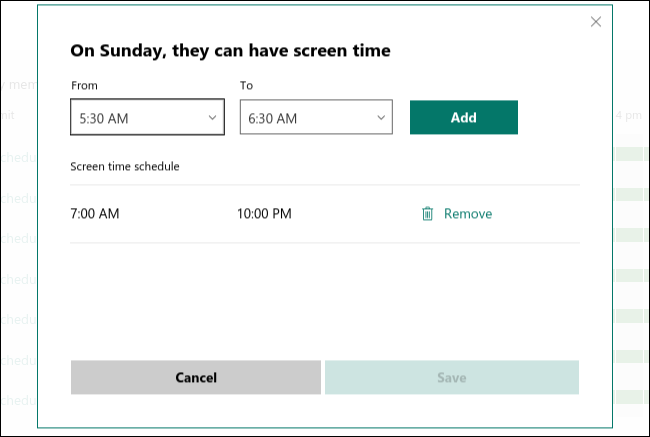 Screen time schedule for Sunday in the calendar.