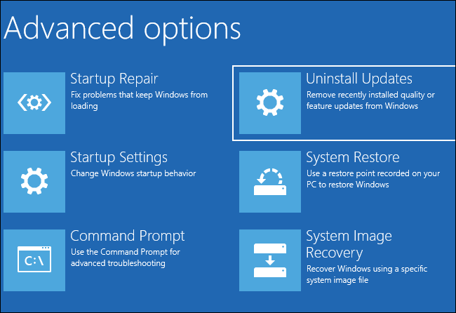 """Selecting """"Uninstall Updates"""" under Advanced options"""