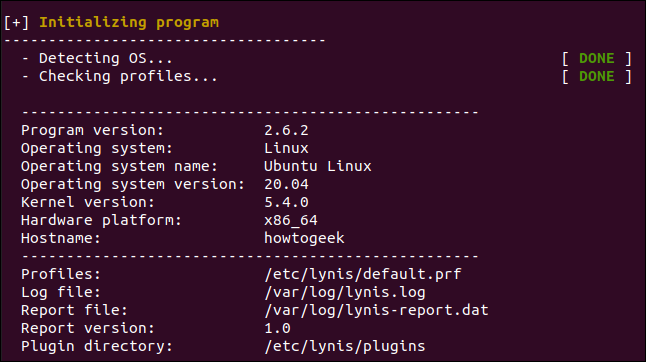 System detection section of a Lynis audit report in a terminal window.