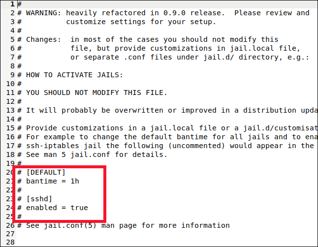 /etc/fail2ban/jail.local opened in a gedit window.
