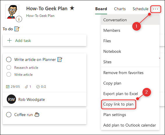 """The """"Copy link to plan"""" option in the Planner menu."""