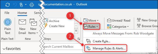 "The ""Manage Rules & Alerts"" menu option."