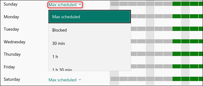 """The """"Max Scheduled"""" drop-down menu to set a time limit."""