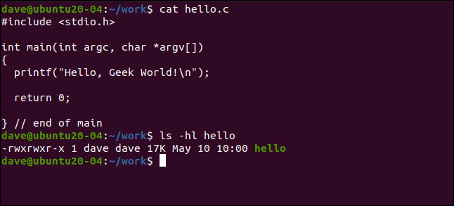 cat hello.c in a terminal window.