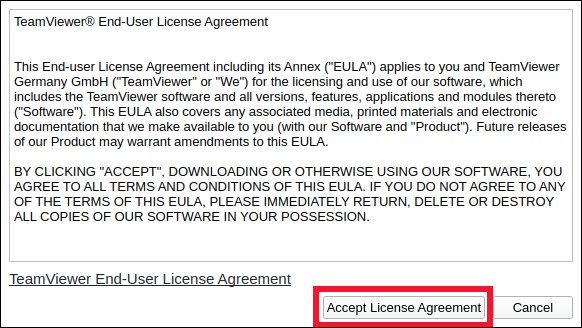 "Click ""Accept License Agreement."""