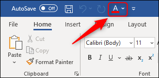 """The """"Font Color"""" command on the toolbar."""