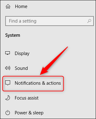 """The """"Notifications & actions"""" menu option."""