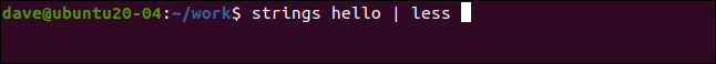 strings hello | less in a terminal window.