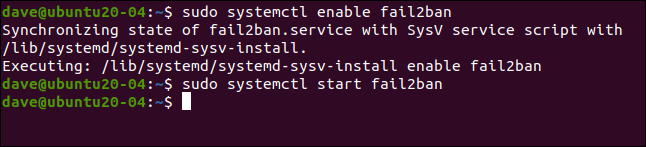 sudo systemctl enable fail2ban in a terminal window.