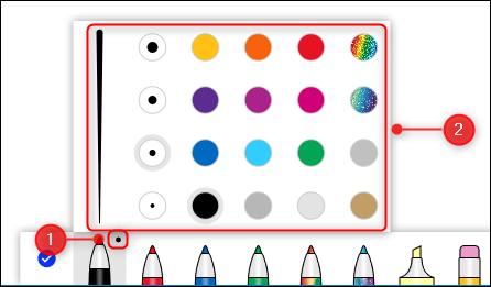 ตัวเลือกความกว้างและสีสำหรับปากกา