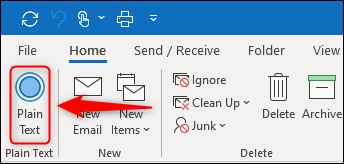 """The """"Plain Text"""" button displayed in a new group on the ribbon."""