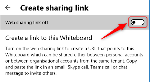 "Toggle-On""Web Sharing Link Off."""