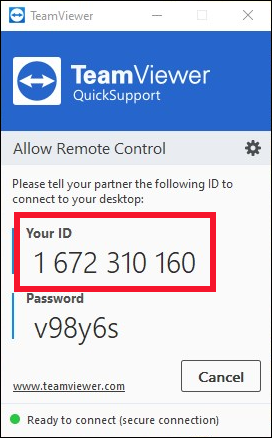 The TeamViewer QuickSupport client.