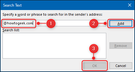 """The """"Search Text"""" panel."""