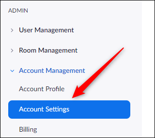 Account settings tab in admin group