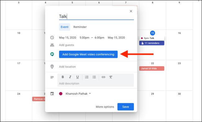 Add Google Meet Video Conferencing to Google Calendar