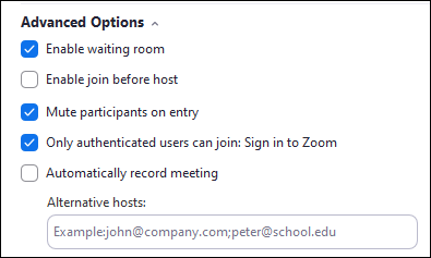 Advanced options and alternative host option