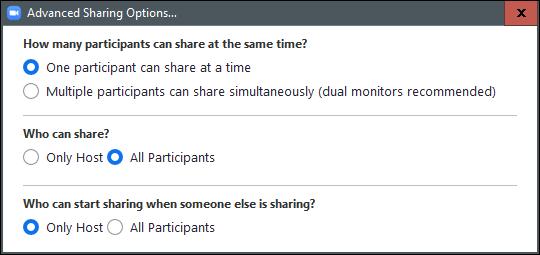 Advanced screen sharing options
